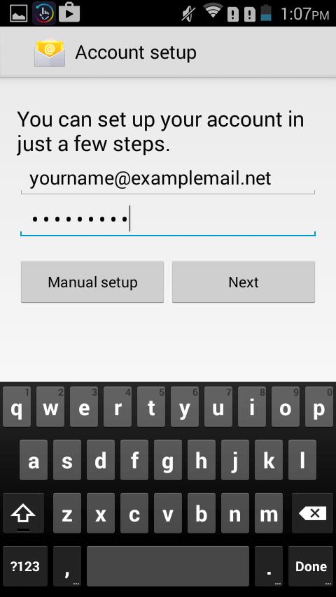 Android SMTP server wijzigen