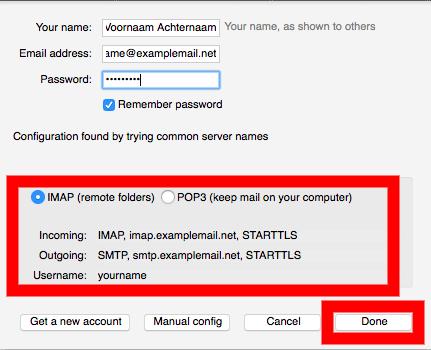 Thunderbird email instellen