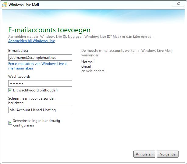 Windows Live Mail instellen