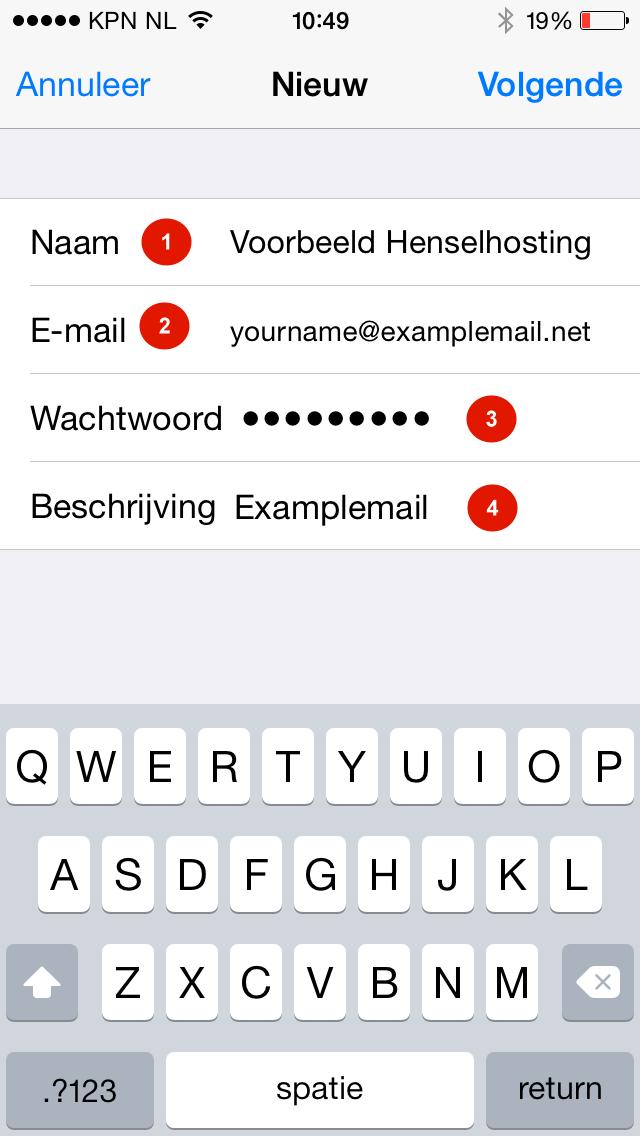 Stap 2 - iPhone email instellen